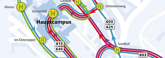 Skizze mit Haltestellen der Bergischen Universität