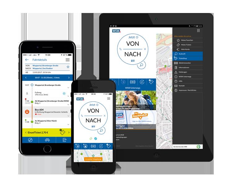 WSW move, die Fahrplan-App mit integriertem Ticketshop für Smartphones und Tablets